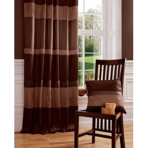 Choc Taffeta Tab Top Curtain Panel