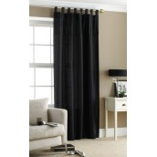 Black Tab Top Embroidered Curtain panel