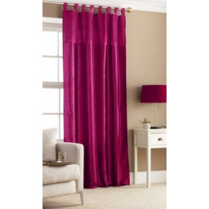 Fuchsia Pink Tab Top Embroidered Curtain Panel