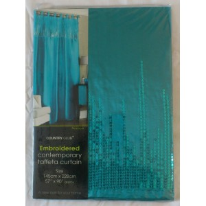 Teal Tab Top Embroidered Curtain Panel 57x90 145x228cm only €10.95!