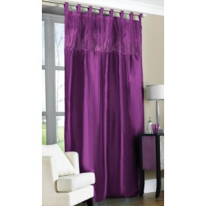 Purple Tab Top Embroidered Curtain Panel 57x90 145x228cm only €10.95!
