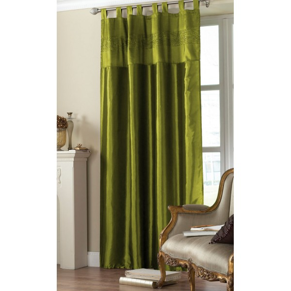 Olive Green Tab Top Embroidered Curtain Panel