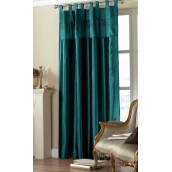 Teal Tab Top Embroidered Curtain panel