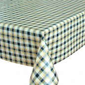 Blue Check Oilcloth Tablecloth Round & Rectangular