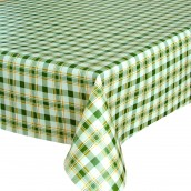 Green Check Oilcloth Tablecloth Round & Rectangular