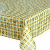 Yellow Check Oilcloth Tablecloth Round & Rectangular