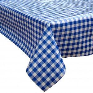 Blue Check Oilcloth Tablecloth Rectangular