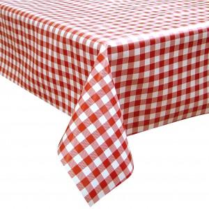 Red Check Oilcloth Tablecloth Rectangular