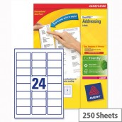 Avery L7159-250 Address Labels Laser 24 per Sheet 63.5x33.9mm White 6000 Labels