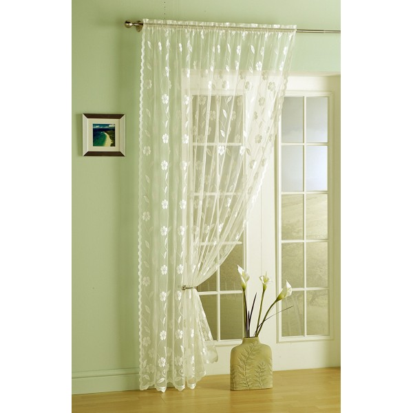 Lime green window curtains - Embroidered Voile Curtain Panel Hd Home Direct Limited